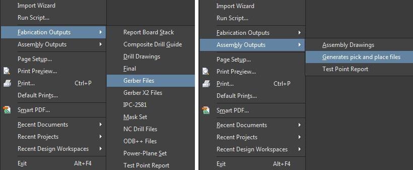 Screenshot of AD18 board output file menus in design output files
