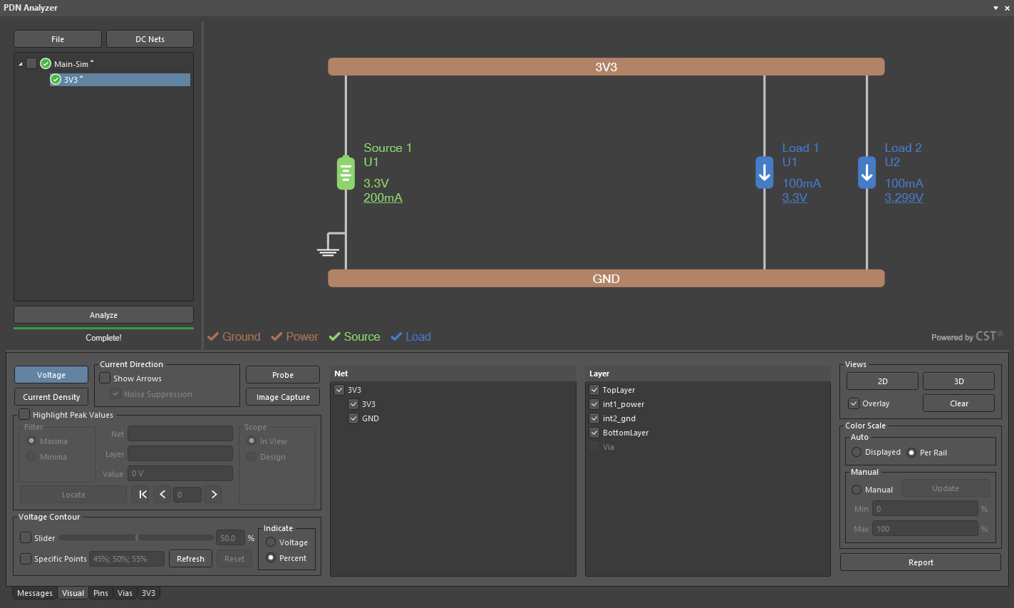 Screenshot of the PDN Analyzer output in Altium Designer