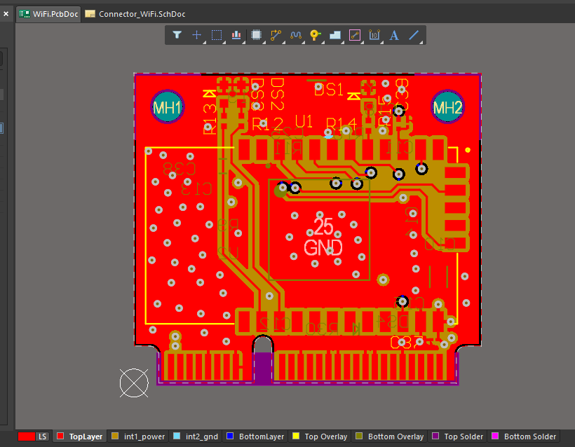 Screenshot of an example WiFi module layout in Altium Designer
