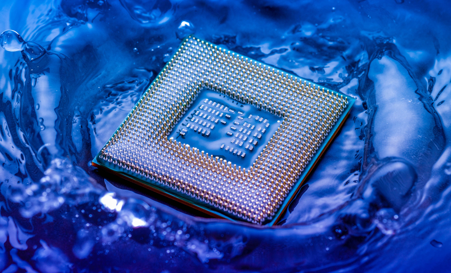 CPU in a puddle of water