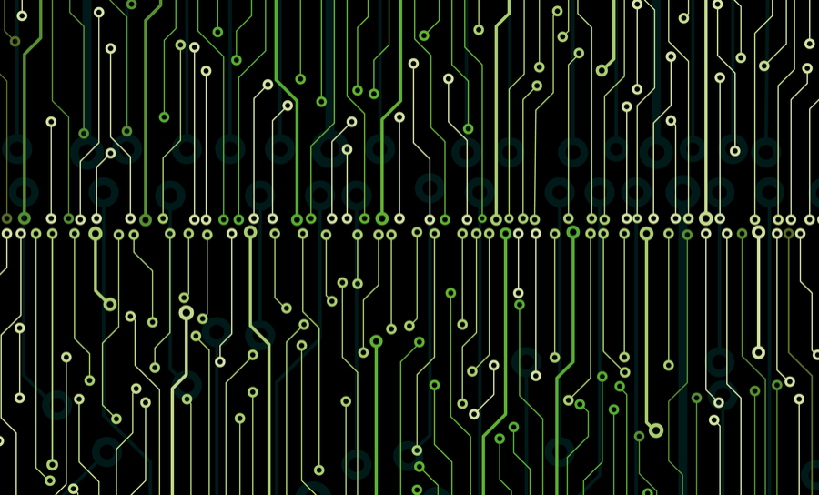 PCB traces and vias on black background