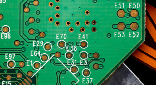 Closeup of a green PCB
