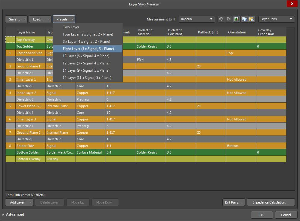 Screenshot of AD18 layer stack manager in rules-driven design