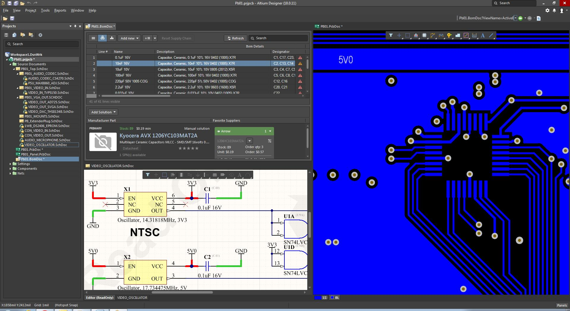Screenshot of AD18 BOM, schematic, and layout in BOM management tool for PCB design