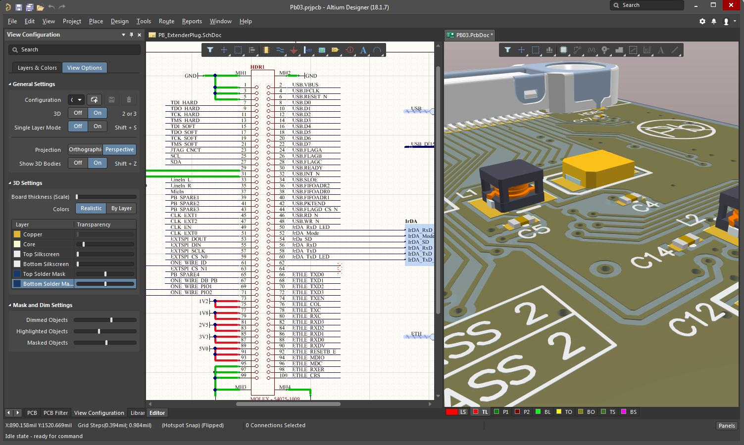 Screenshot of AD18 schematic and 3D layout in printed circuit board design software