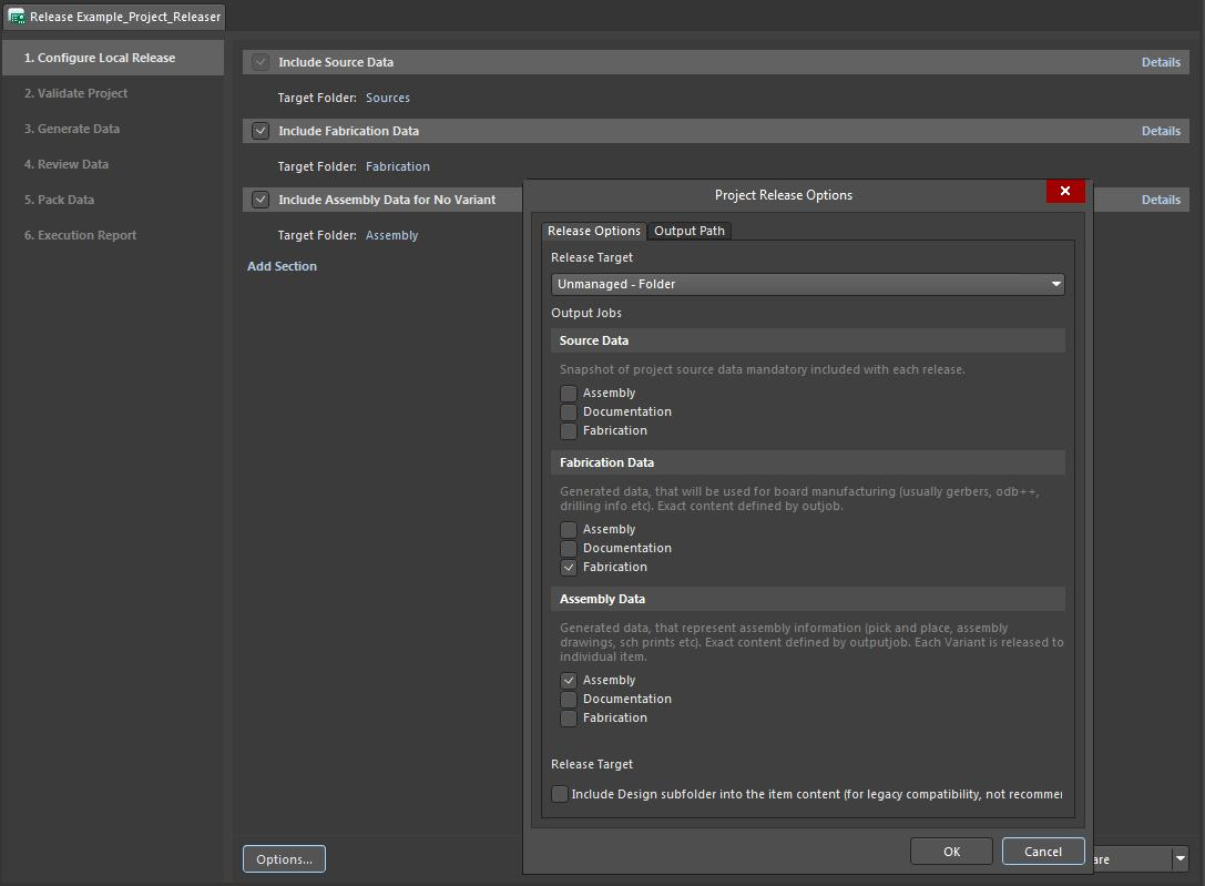 Screenshot of AD18 project releaser menu options in project release management