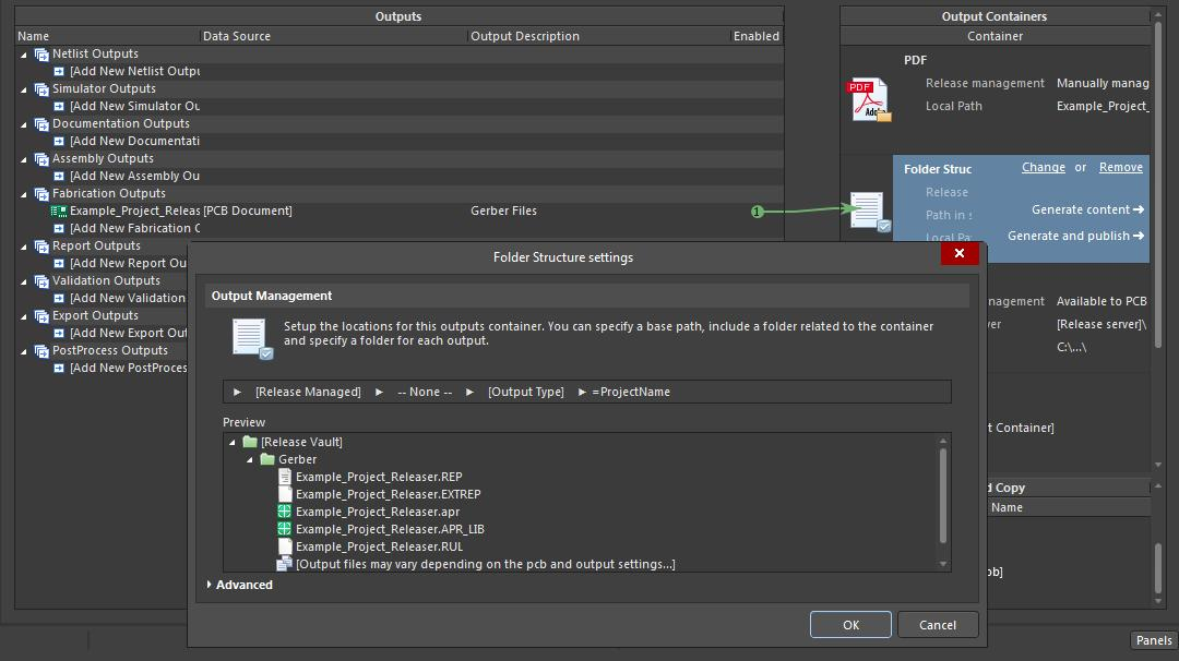 Screenshot of AD18 fabrication job output file in project release management