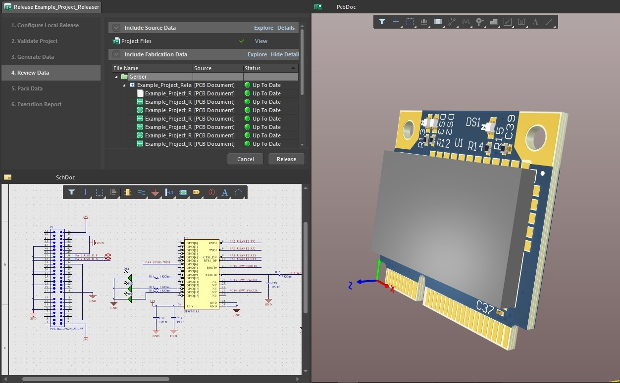 Screenshot of AD18 sch, 3D layout, and releaser in project release management