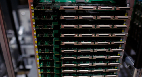 Stack of finished PCBs in a factory
