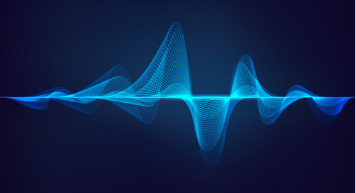 Waveform on a light blue background