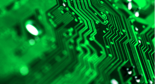Traces on a green PCB