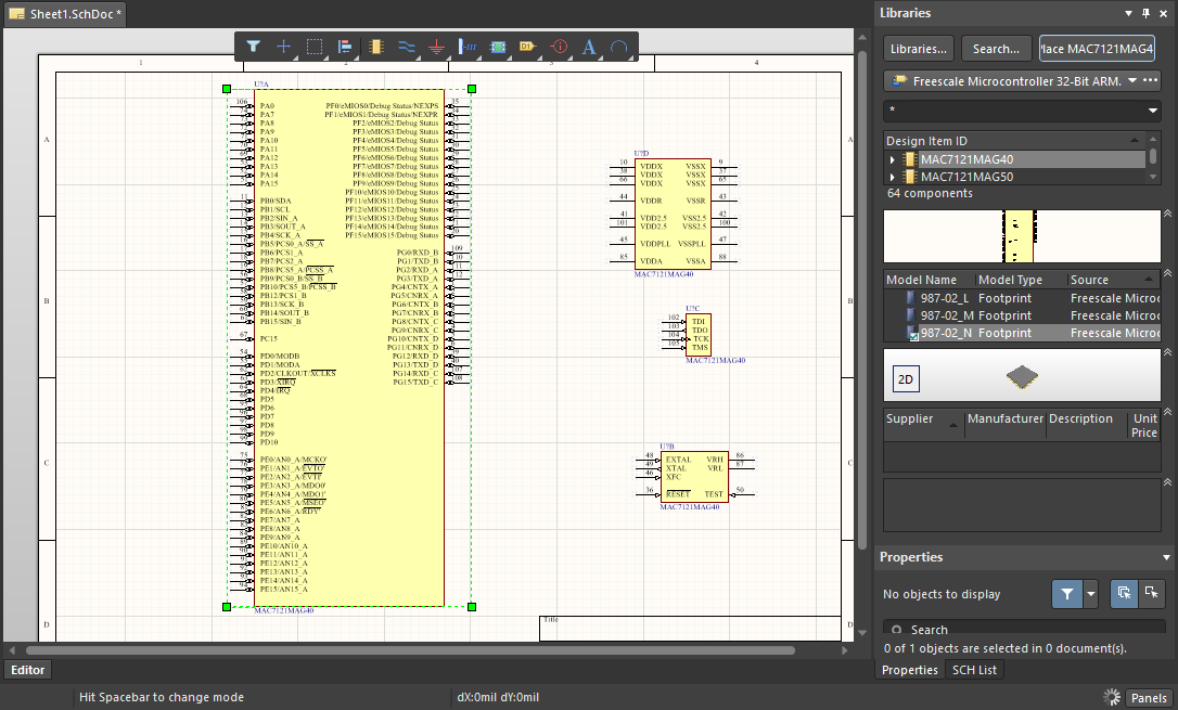 Placing the MAC7121MAG40 microcontroller in your schematic in Altium