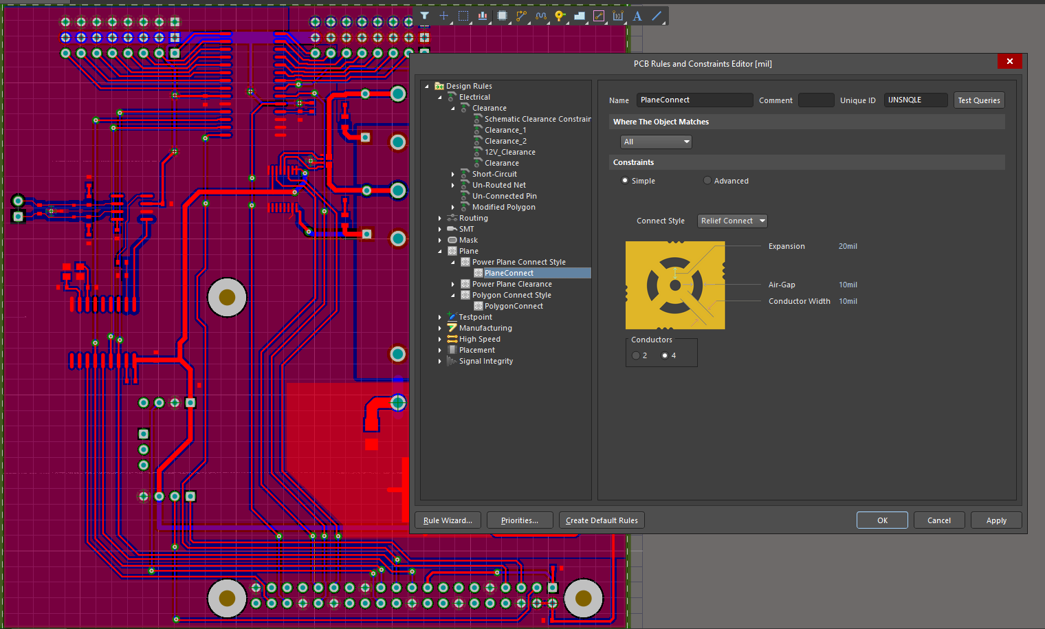 Altium's Rules Manager directly commands rules for planes