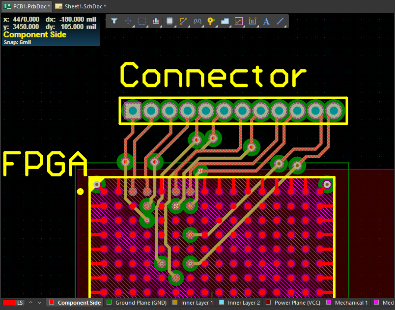 Differential pair routing into an FPGA in Altium