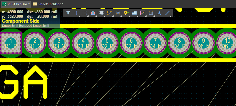 Screenshot of new pin arrangement after pin swapping in Altium