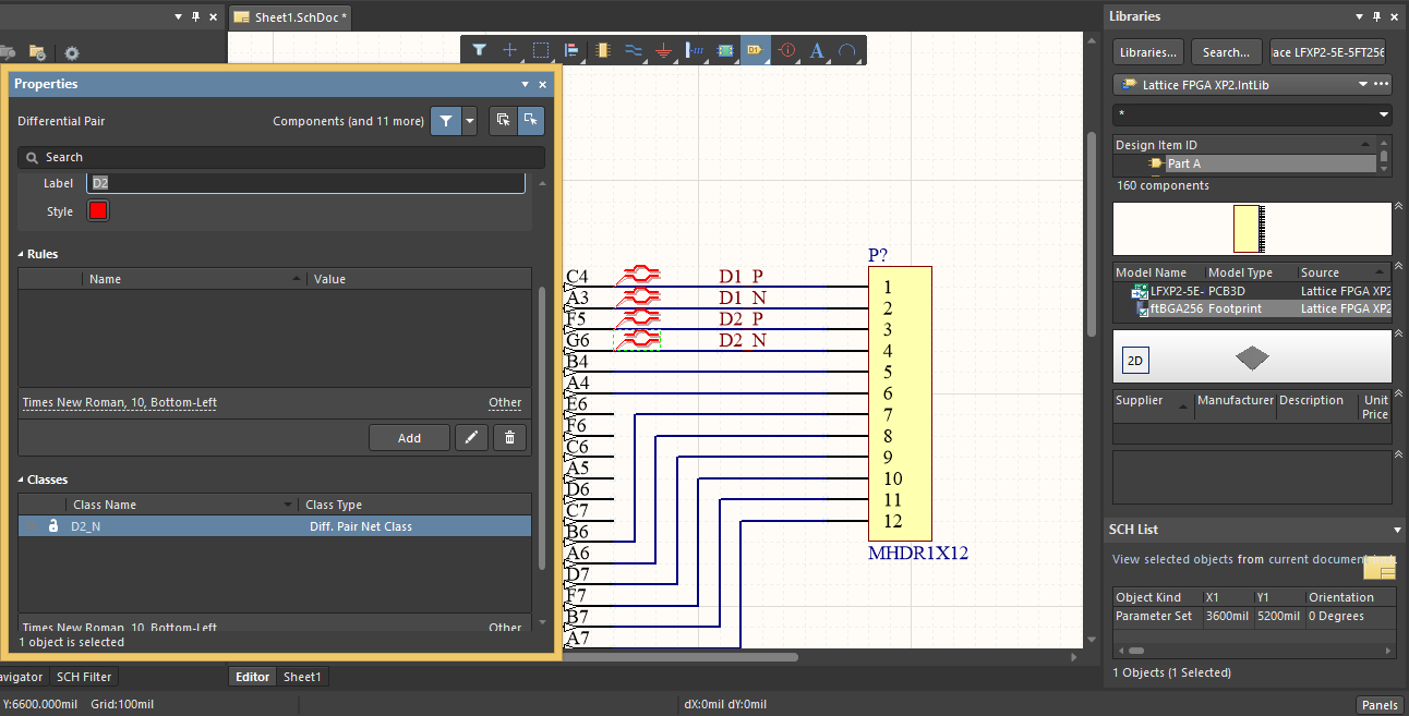 Defining differential pair design rules and constraints in Altium
