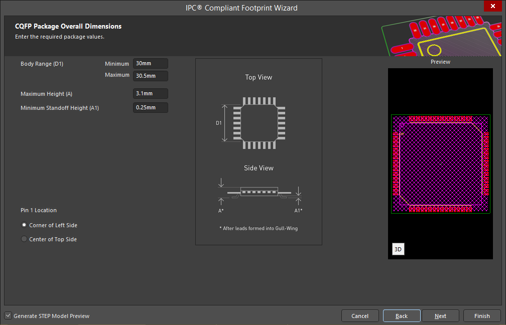 Screenshot of the IPC Compliant Footprint Wizard in Altium