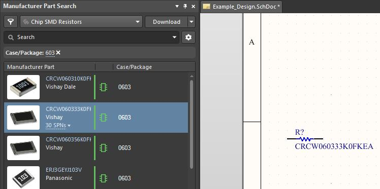 Screenshot of AD19 part search placement in pipelining your design file process