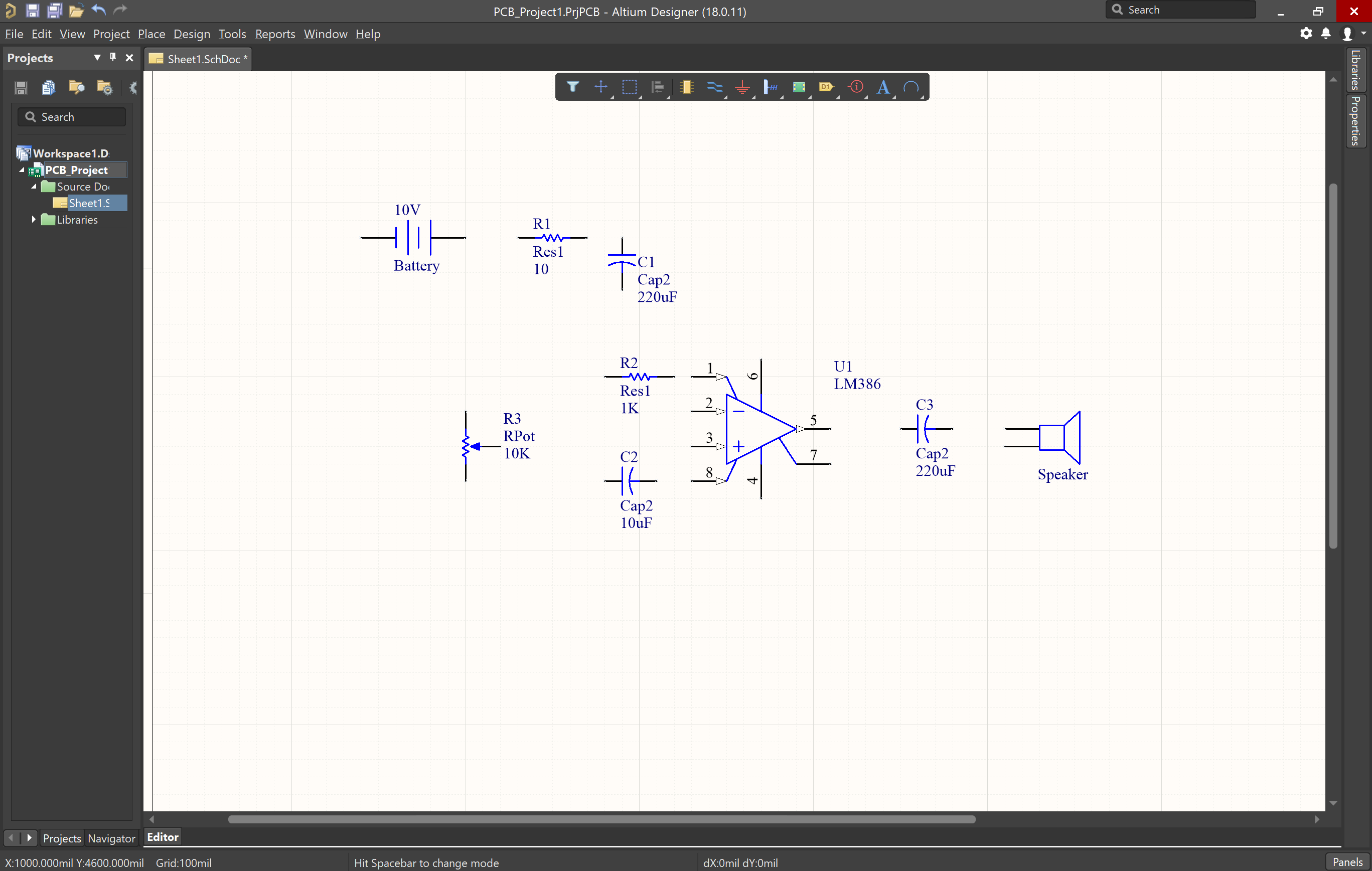 Opening a schematic and placing components in Altium Designer