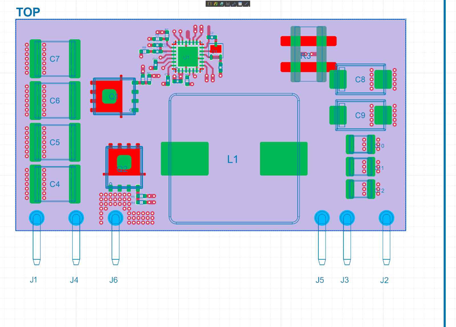 Board Assembly View Showing Mask, Topology, Through-holes, and Pads