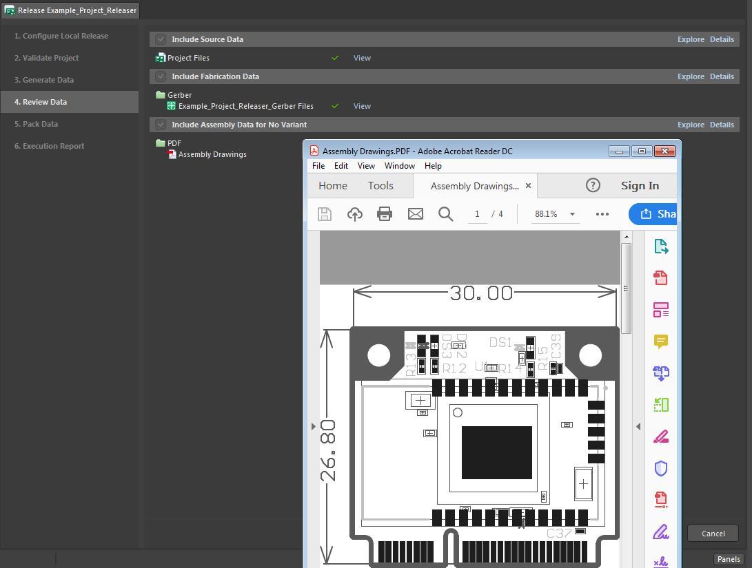 Screenshot of assembly drawing export in Altium Designer