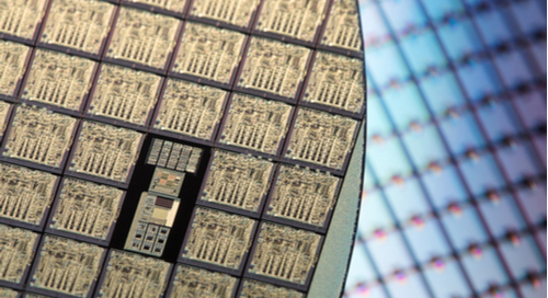 Unpackaged ICs on a silicon wafer