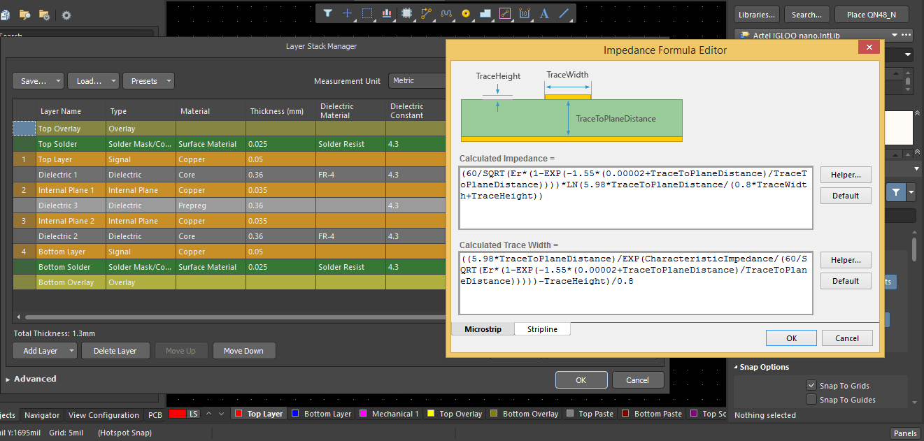 Screenshot of the impedance formula editor Altium Designer