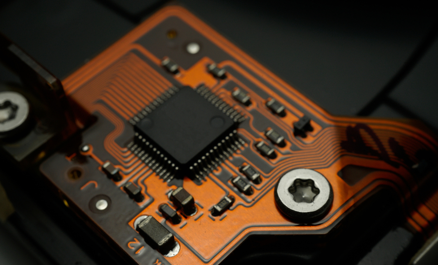 Flexible circuit on a green PCB