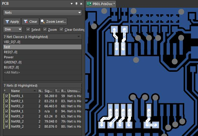 Setting trace properties on circuit board routing