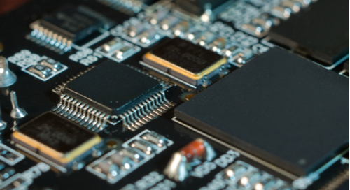 Integrated circuits on a black PCB