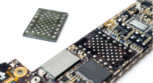 NAND flash package removed from a PCB for a smartphone