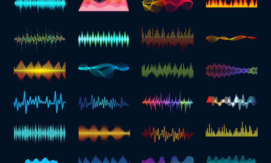 Audio waveform signals graphic
