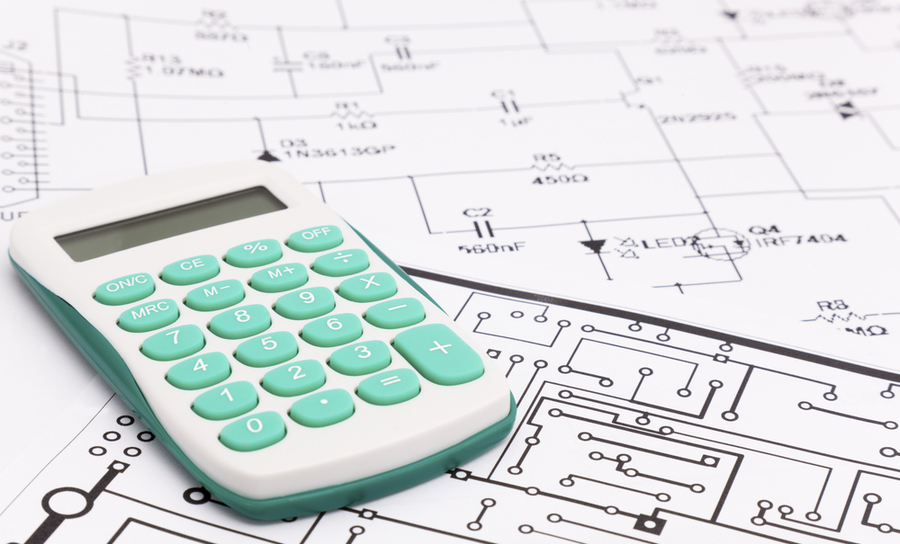 Calculator on electronic schematics
