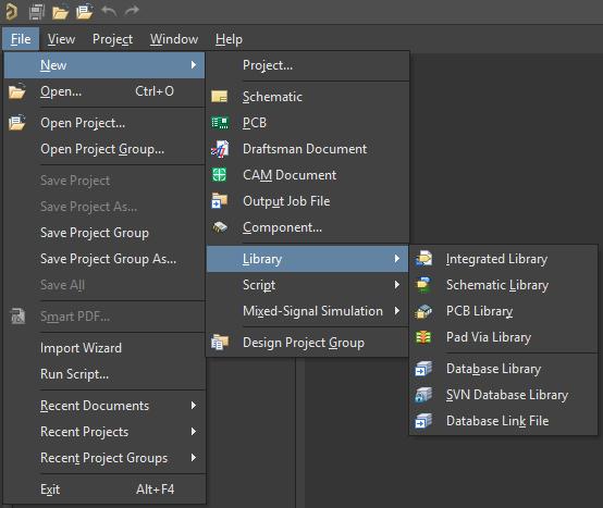 Options for new design data libraries in Altium Designer