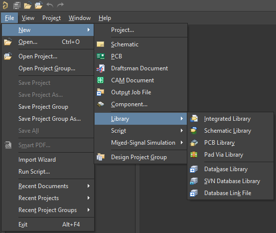 Options for new design database libraries in Altium Designer