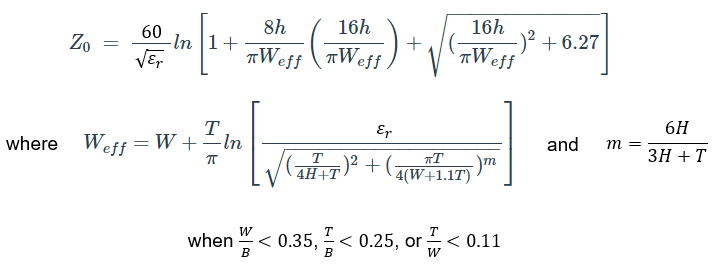 Characteristic impedance for narrow striplines