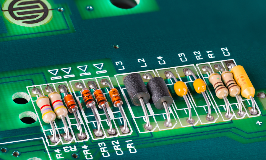 Passive components on a green PCB