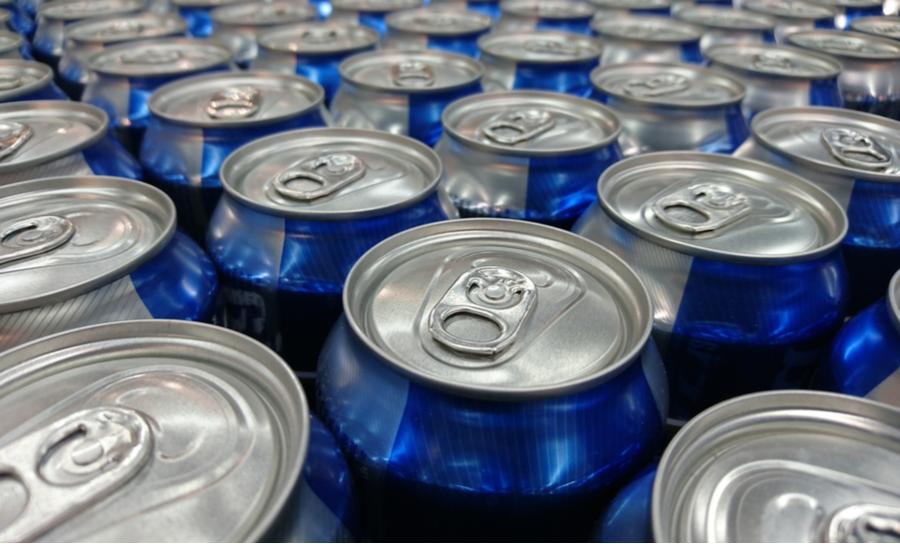 Blue aluminum cans