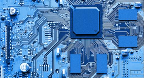 ICs on blue PCB