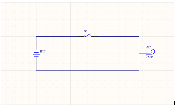 A schematic with a battery, a switch, and a lamp