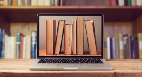 Library on a laptop screen