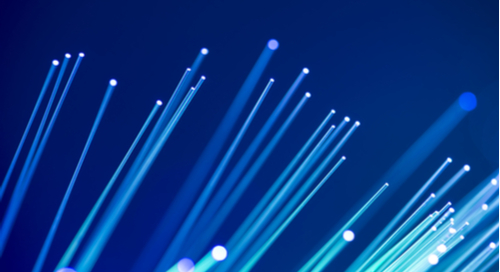 Optical fibers on blue background