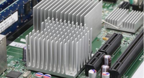 Metal heat sinks on a motherboard