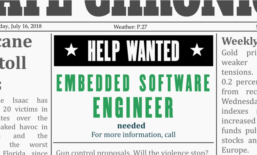 Newspaper with help wanted for embedded software engineer