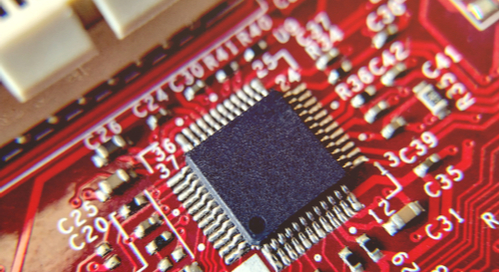 MCU on a red PCB