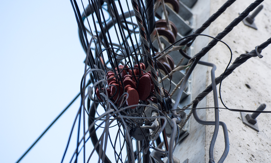 Transmission lines on a power pole