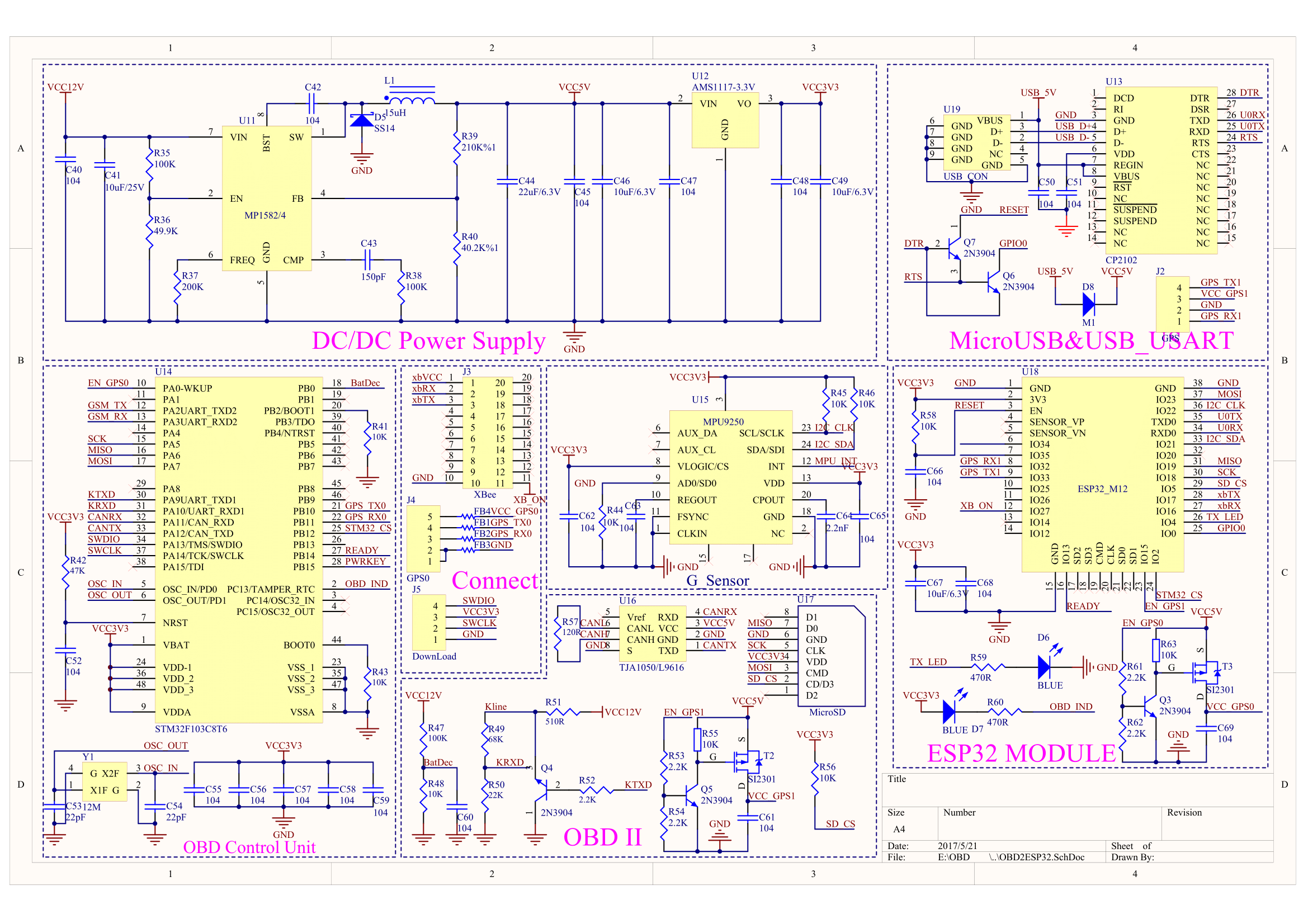 Freematics ONE+ telematics system schematic