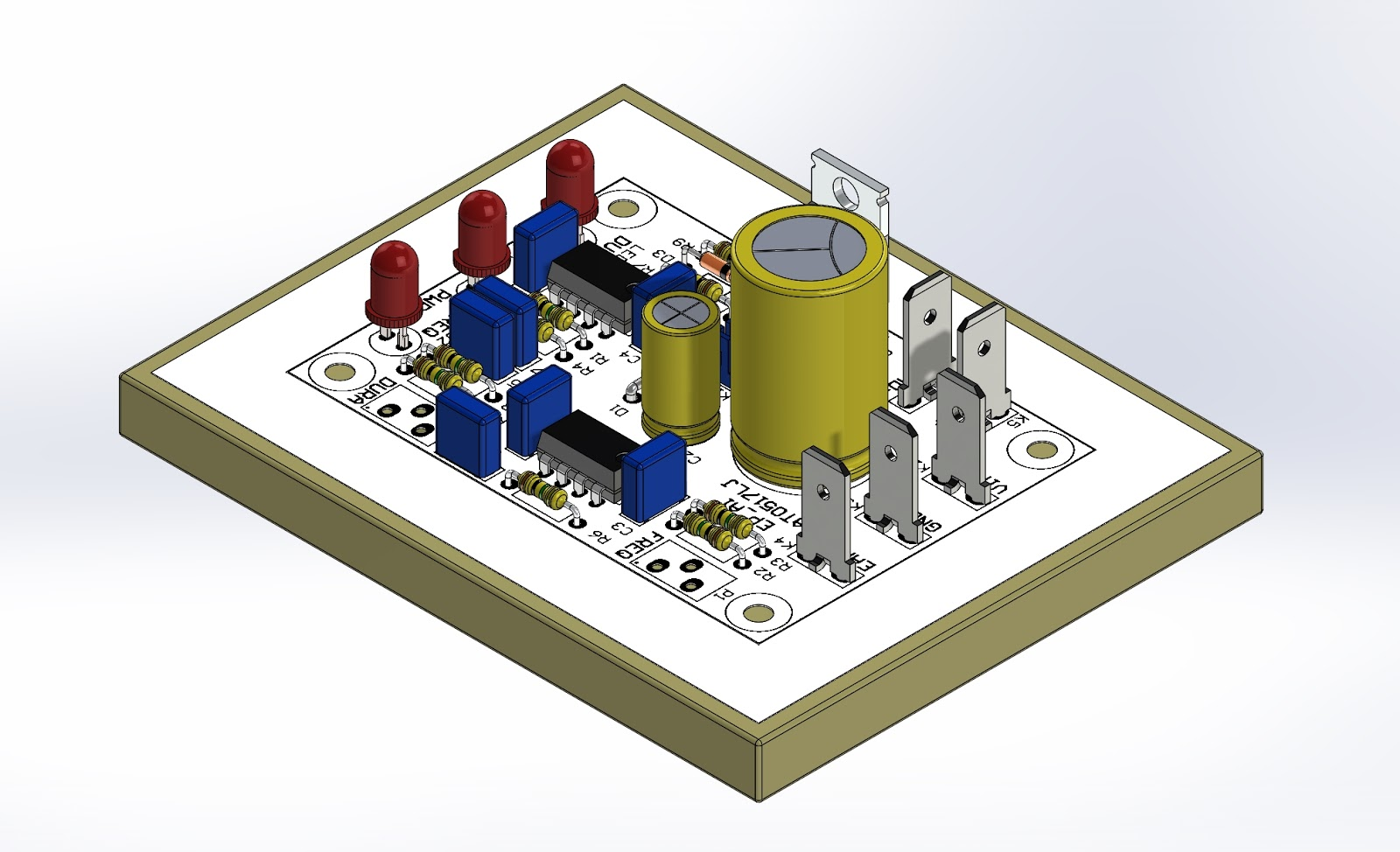 A 3D view of a through hole (THT) PCB for an audio amplifier.