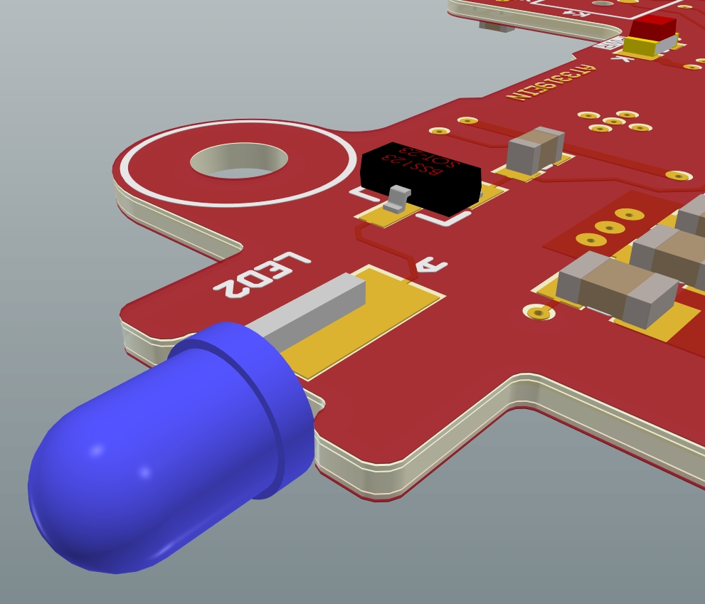 An LED placed sideways on a PCB with one pad on each of the top and bottom layers in 3D view of Altium Designer