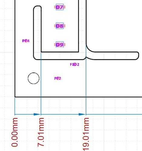Altium designer draftsman document featuring a PCB with ordinate dimensions.
